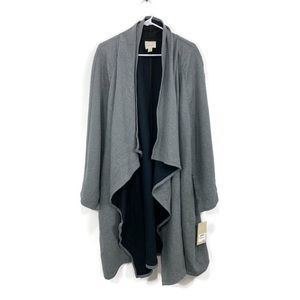 NWT Sejour Gray Waterfall Front Sweater Cardigan